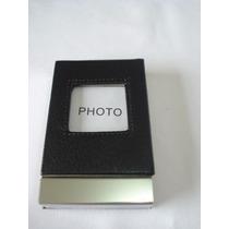 Porta Cartão De Visitas Com Porta Retrato Preto Couro