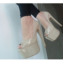 Sapato Salto Alto Numeração Especial Nude Verniz Conforto