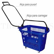 Cesta Cesto Compras Roda Rodinhas Carrinho Mercado Cestinha
