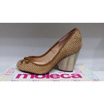 Sapato Feminino Moleca 5144.251 Nobuck Pele Natural/caramelo