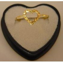 Anel Coração Ouro 18k Feminino T/numeração