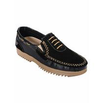 Sapato Em Sintético E Camurça Preto