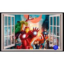 Adesivo Decorativo Janela 160x98cm Quarto Paisagem Heróis