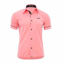 Camisa Manga Curta Masculina Slim Fit - Pronta Entrega