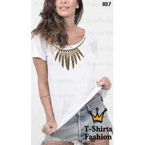 T-shirt Colar Pena Fashion Feminino Blusa Baby Look Camiseta