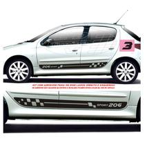 Adesivos Kit Faixas Laterais Peugeot 206 Sw 4 P Acessórios