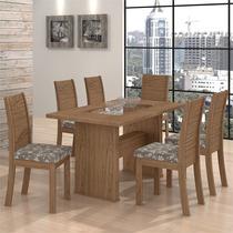 Conjunto De Mesa Sâmara New Com 6 Cadeiras Florença Carvalho