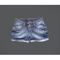 Short Feminino Jeans C/ Bolso Azul Curto Medio Barra Desfiad