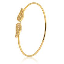 Pulseira Semijoia Bracelete Fio Asas 20cm Banho Ouro 18k