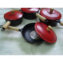 Jogo 3 Panelas 1 Frigideira Tapioca Ferro Fundido Cozinha