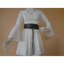 Vestido Curto Rodado Branco Lindo Manga Longa Juju Panicat