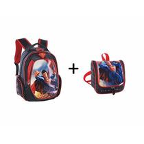 Kit Superman Mochila M + Lancheira Luxcel