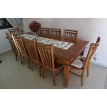 Mesa De Jantar 2,50m + 10 Cadeiras De Madeira Rústica