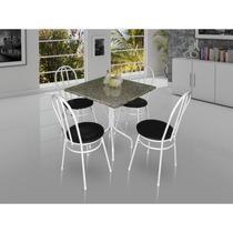 Conjunto Mesa Movita Tampo Em Granito Com 4 Cadeiras Branco