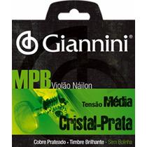 Cordas P/ Violão Nylon Giannini Cristal Prata Tensão Média