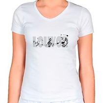 Camiseta Religiosa Baby Look Feminina Notas Musicais De Louv