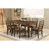 Mesa De Jantar Com 6 Cadeiras Firenze Castanho - Lojix