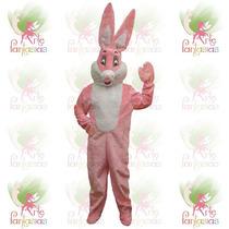 Mascote Coelho Pelúcia - Roupa Fantasia Cabeção Rosa Páscoa