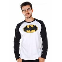 Camiseta Manga Longa Masculina Batman Logo Clássico Bandup
