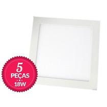 Kit 5 Painel Plafon Quadrado Luminária Sobrepor Led 18w