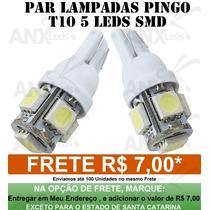Par Lâmpadas Pingo T10 5 Smd 5050 W5w Automotivo Frete 6,00