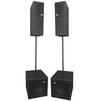Kit 4 Caixas Line Vertical 2x8 + Subwoofers 15 Ativos 2400w