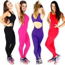Macacão Longo Liso Feminino Suplex Fitness Academia