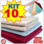 Kit 10 Panos Microfibra Flanela Limpeza Carro Polimento
