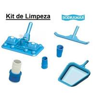 Kit Limpeza Piscina Aspirador 8 Esfera Peneira Escova