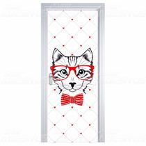 Adesivo Decorativo De Porta Madeira Sala Quarto Gato