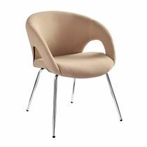 Poltrona Cadeira Fixa Bege Estofada Recepção Sala