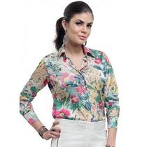 Camisa De Cetim Feminina Estampa Floral Principessa Manuele