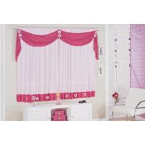 Cortina Margarida Infantil P/quarto De Menina Rosa E Pink