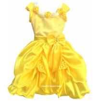 Vestido Festa Infantil Princesa Luxo A Bela E A Fera E Tiara