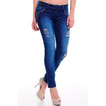Calça Jeans Feminino Cóstranspassado Estilo Rasgo Rh1804