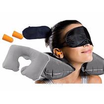 Travesseiro Almofada De Pescoço Inflável Para Viagem Kit