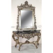 Aparador Est Classico Prateado Marmore E Espelho
