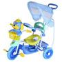 Triciclo Infantil Carrinho Bebê Azul C/toldo Proteção Belfix