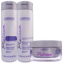 Cadiveu Platinum Matizador Kit Shampoo Condicionador Máscara