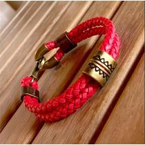 Pulseira Masculina Couro Vermelho Ouro Velho Cardin Design