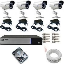 Kit Monitoramento P Casa E Comercio 4 Câmeras Infra Completo