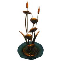 Fonte Agua Cascata Chafariz Metal Flores Bronze 110v