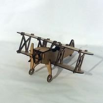 Quebra Cabeça 3d - Coleção Aviões - Bi-plano Mdf