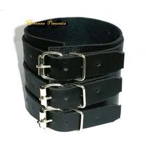 Bracelete Pulseira De Couro 3 Fivelas Punk Rock