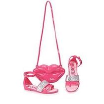 Sandalia Infantil Feminina Com Bolsinha Barbie Pop Rosa