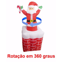 Papai Noel Inflavel Natal Chamine Eletrico Sobe Desce