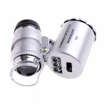 Microscópio 60x Mini Bolso Led Ultravioleta Lupa Conta-fios