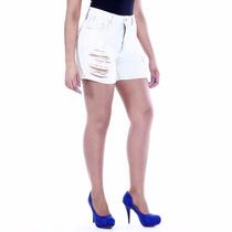 Sawary Short Jeans Feminino Cintura Alta Com Lycra