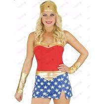 Fantasia Feminina Super Herói Mulher Maravilha Frete Grátis!