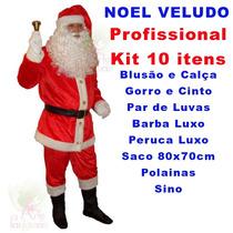 Fantasia De Papai Noel Veludo Roupa Profisisonal - 10 Itens
